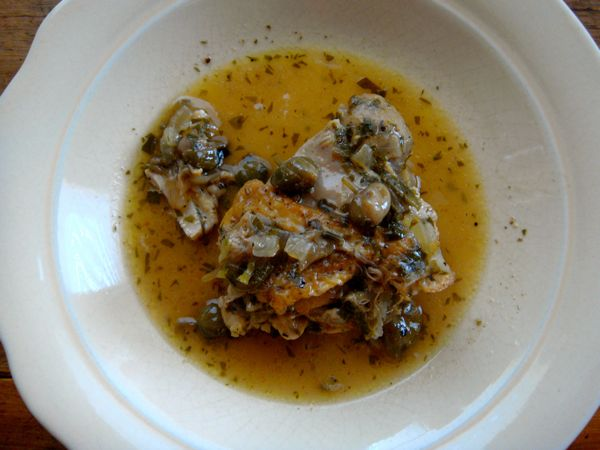 Braised Chicken with Capers and Parsely