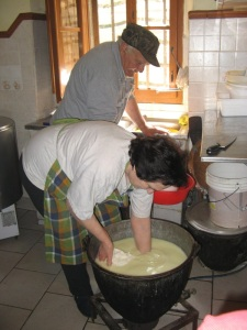making cheese