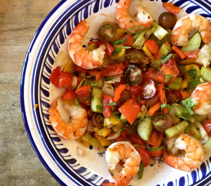 Grilled Gazpacho Salad with Shrimp Recipe - Details, Calories ...